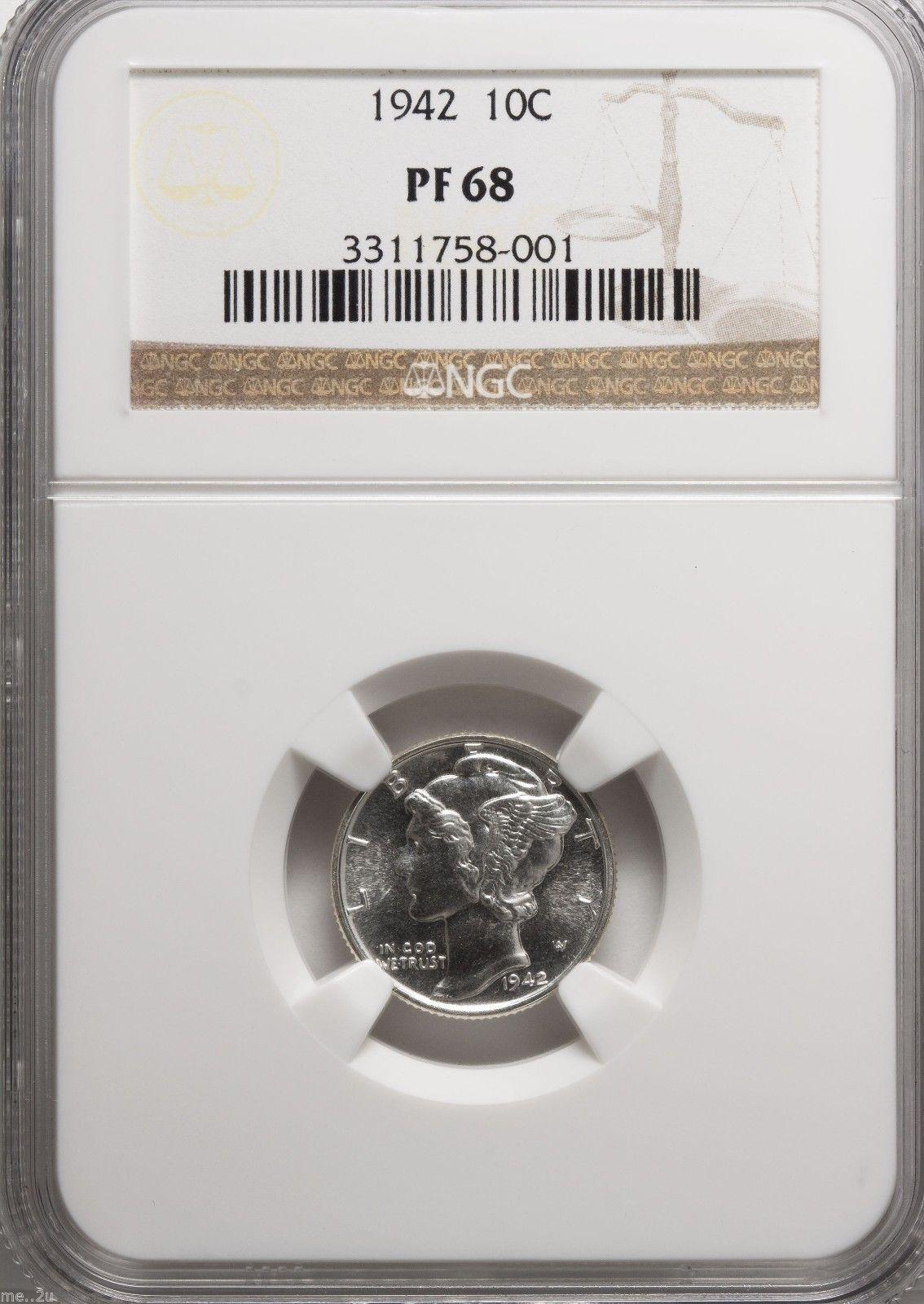 1942 10C (Proof) Mercury Dime PR68 NGC - $2,569.05