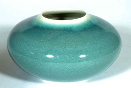 Art Pottery Porcelain Vase Gray Blue Color w Purple Splash - $12.00