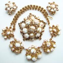 Juliana DeLizza & Elster Parure Gold Fluss Brooch Earrings Fabulous - €237,36 EUR
