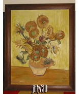 Large Framed Reproduction Oil Painting of Van Gogh's Sunflowers by N.C. ... - $399.00