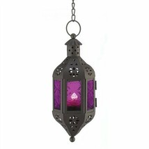 Purple Glass Black Metal Mystical Candle Lantern - $8.58