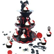 Halloween Cupcake Stand with 3 Tier Table Centerpiece Zombie Party Decor... - £11.67 GBP