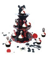 Halloween Cupcake Stand with 3 Tier Table Centerpiece Zombie Party Decor... - $14.99