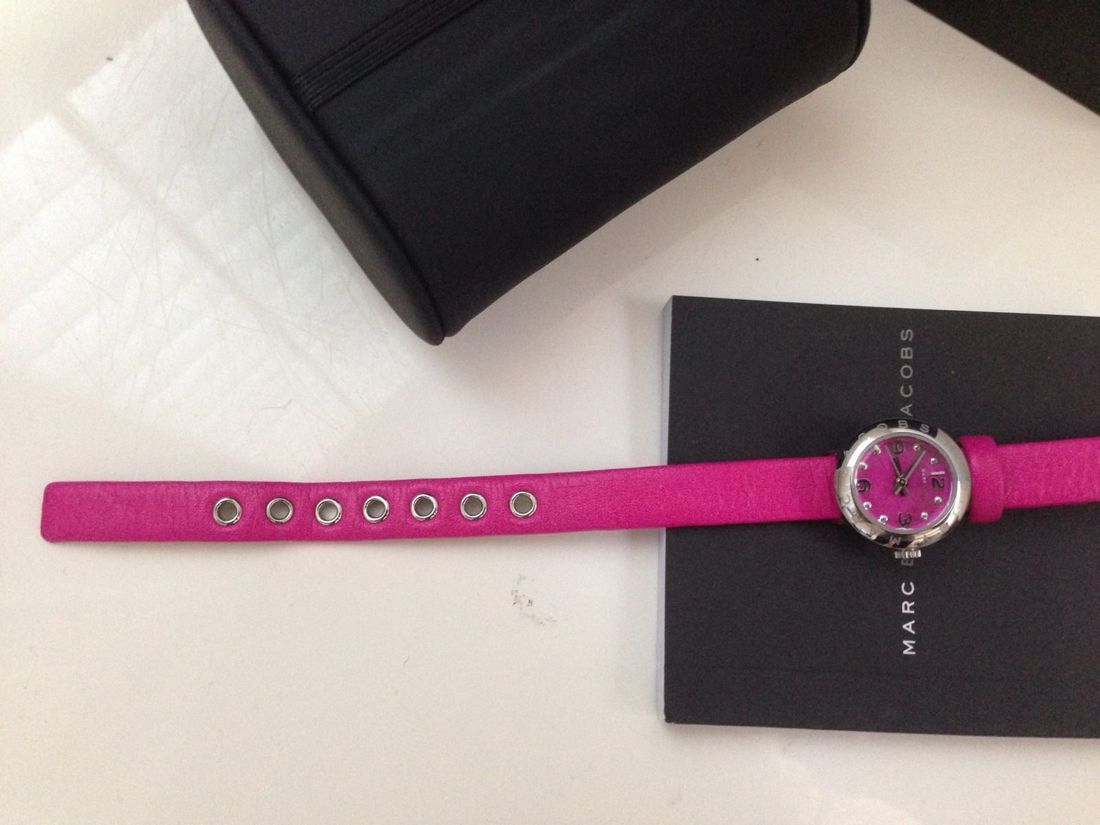 NWT -Marc By Marc Jacobs Amy Mini Silver Tone Pink Leather Watch MBM1288