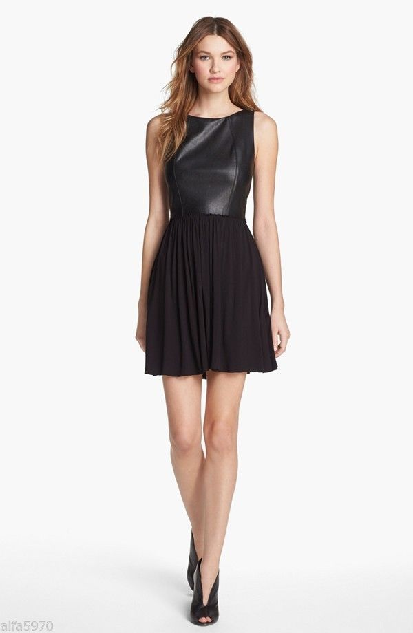 BAILEY 44 FAUX LEATHER FIT AND FLARE DRESS - NEW