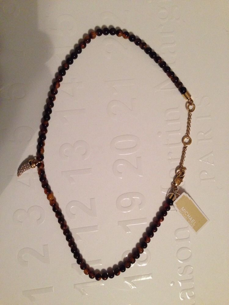 MICHAEL KORS Brown Tortoise Bead Necklace With Pave Horn Charm- NWT