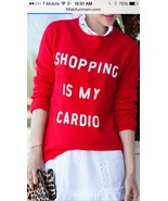 WILDFOX White Label SHOPPING IS MY CARDIO SEQUIN SWEATER - SIZE M - NWT - $103.95