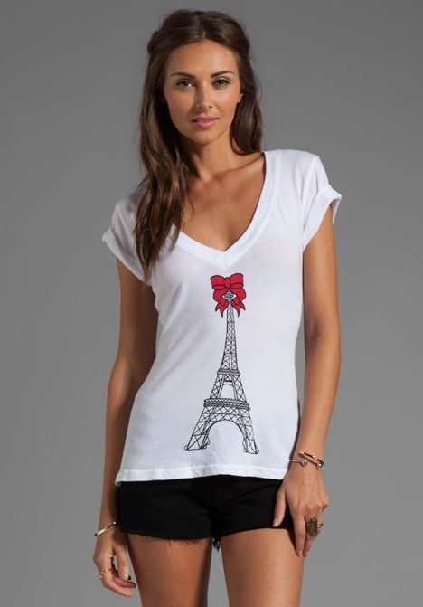 Wildfox Couture Eiffel Tower V neck Tee - Size M - NWT