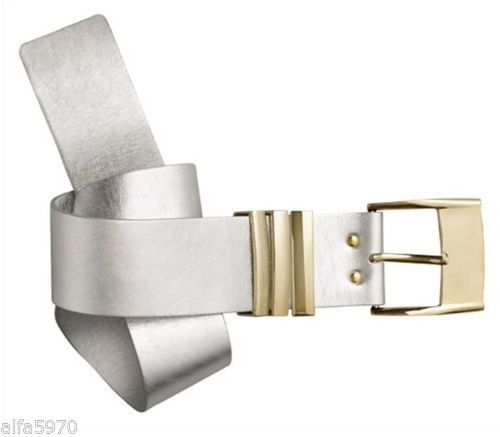 VERSACE H&M SILVER GOLD LEATHER PARTY THICK WAIST BELT -SIZE US XS- NWT