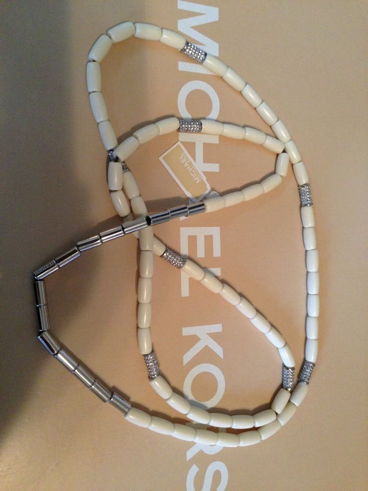 MICHAEL KORS ' IVORY color  GLAM' NECKLACE NWT RETAIL $185 MKJ 1711040 STUNNING