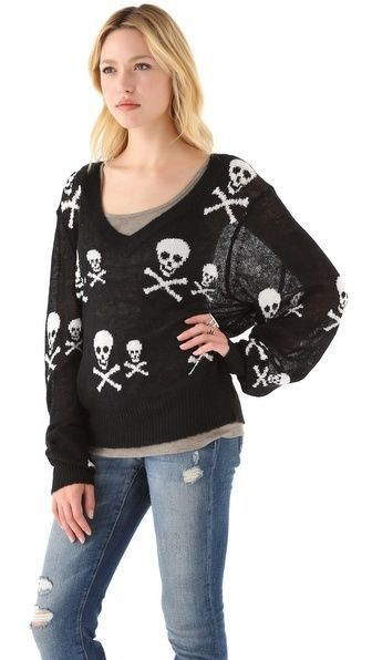 WILDFOX Knight Hood V Neck Sweater - NEW WITH TAGS - MSRP $335 XS