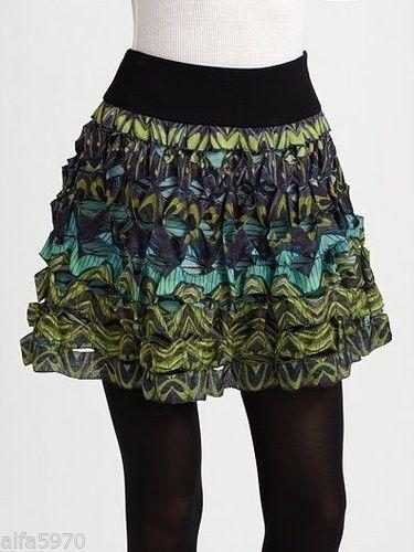DVF Diane Von Furstenberg GUNITA Full Mini Skirt Decofly 6 US / 10 UK $265