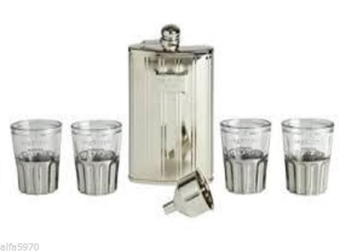 RAG AND BONE FLASK AND SHOT GLASS SET- NEW