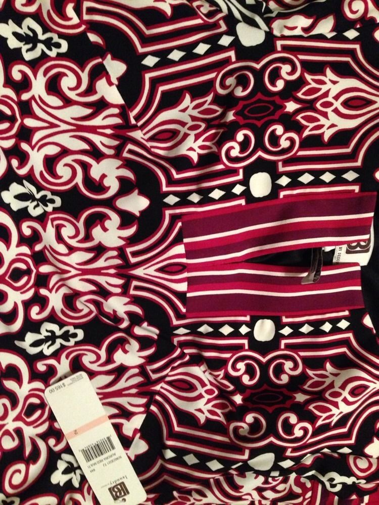 Laundry By Design Mixed-Print Split-Front Shift Dress, Aurora Red- Size 2 - NWT