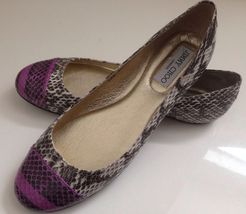 JIMMY CHOO Multicolor Whirl Snakeskin Captoe Ballet Flats Shoes US 7.5 NEW  - $400.75