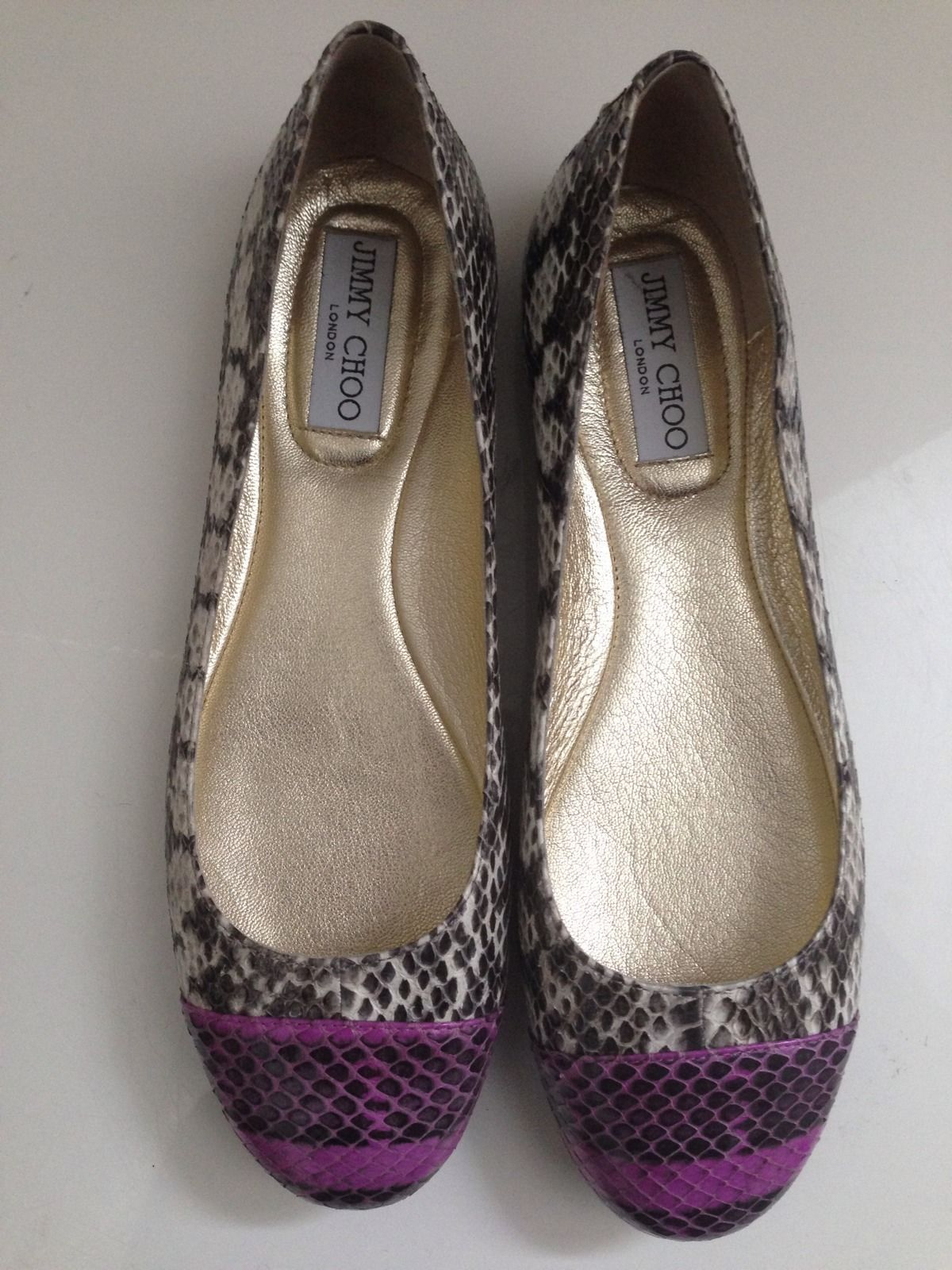 JIMMY CHOO Multicolor Whirl Snakeskin Captoe Ballet Flats Shoes US 7.5 NEW