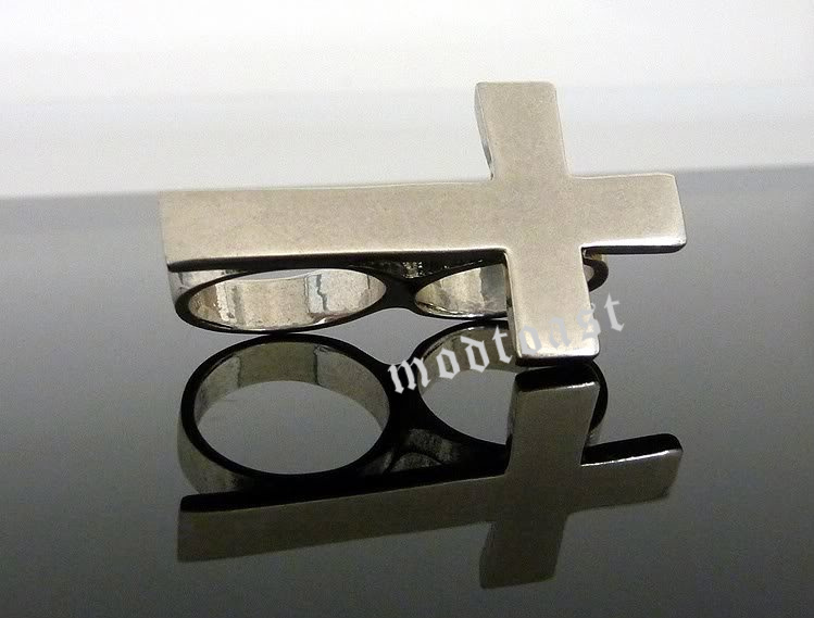 Cross Ring Sideways Forever 21 Two Finger Double Connector Antique Silver SZ 5 6