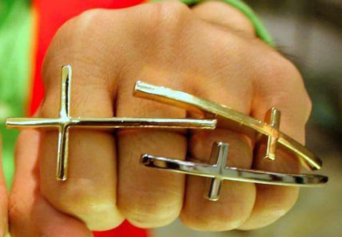 Forever 21 Cross Ring Sideways Bohemian Knuckle Art Armor Antique Silver Size 7
