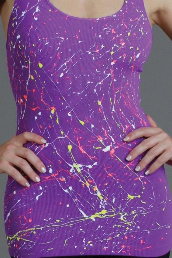 Paint Splatter Tank in Neon Purple One Size Fits Most