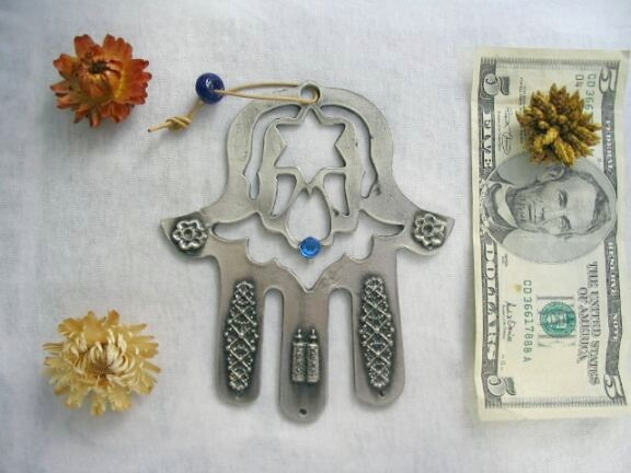 Beautiful metallic HAMSA with evil eye protection kaballah torah star of David