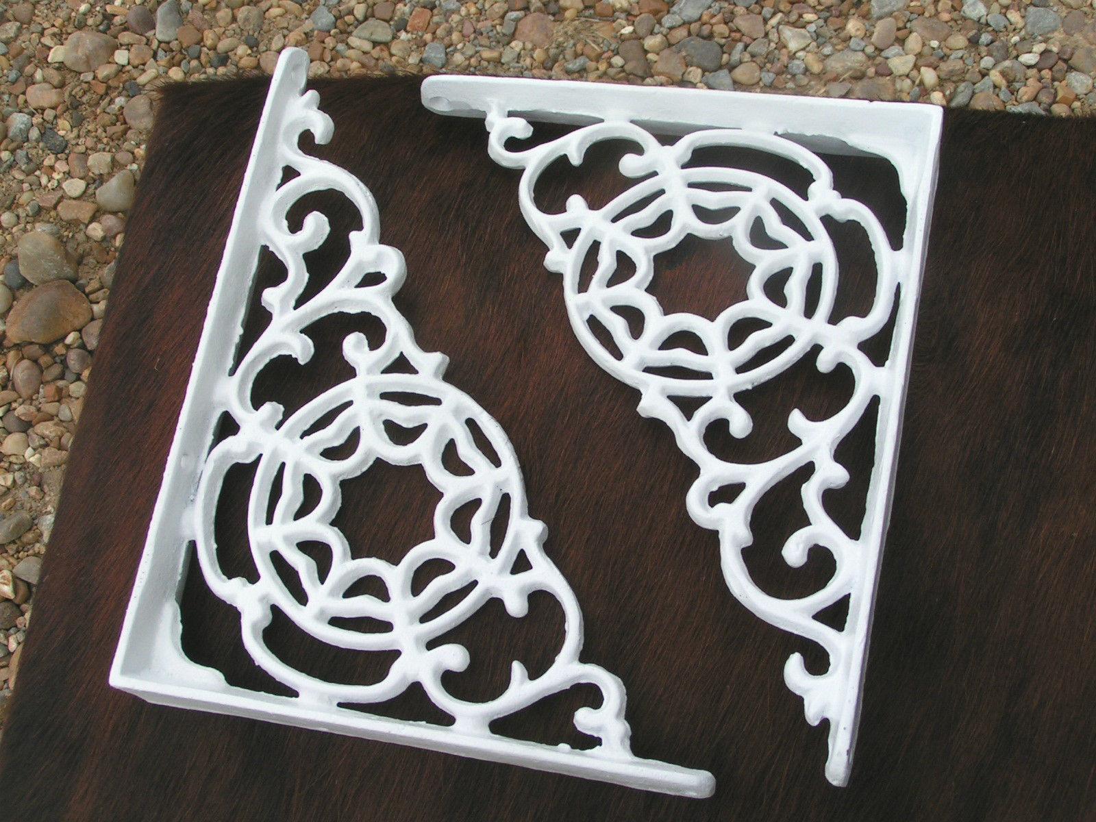 2 Cast Iron Brackets Wall Shelf Island Architectural corbels braces white bz