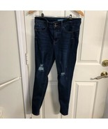 Wax Jean Womens Slim Skinny Jeans Blue High Rise Distressed Denim Junior... - $15.19