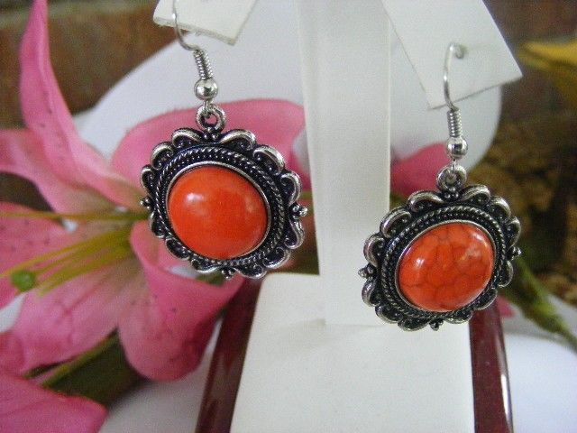 TIBETAN ANTIQUED SILVER & BRIGHT REDDISH ORANGE TURQUOISE PIERCED EARRINGS