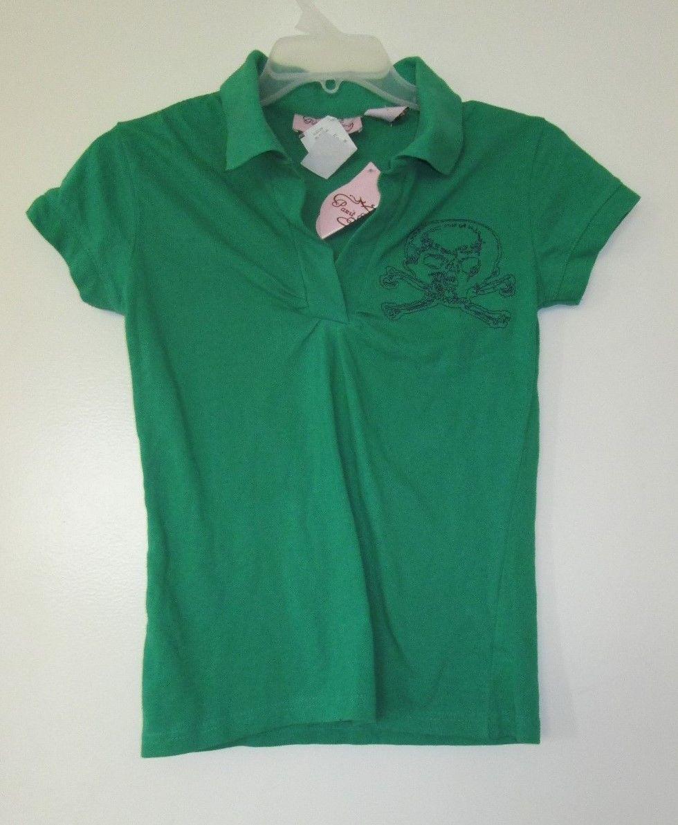 NWT punk green skull navy blue embroidered polo shirt ruched size extra small xs