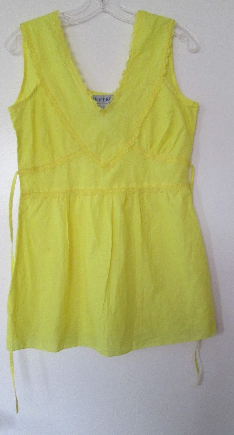 NWT brand new neon bright yellow 100% cotton blouse shirt size xs 4 extra Small