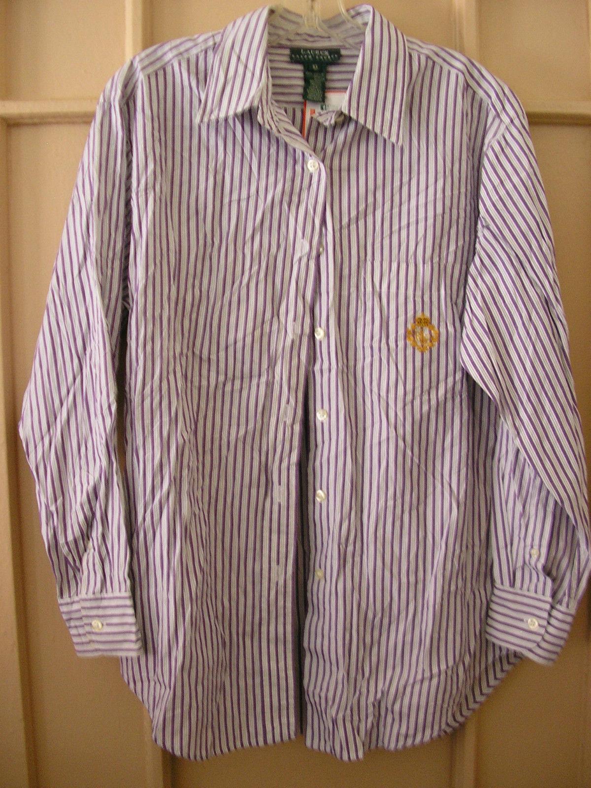 ralph lauren classic purple white stripes preppy button down shirt size 10 large