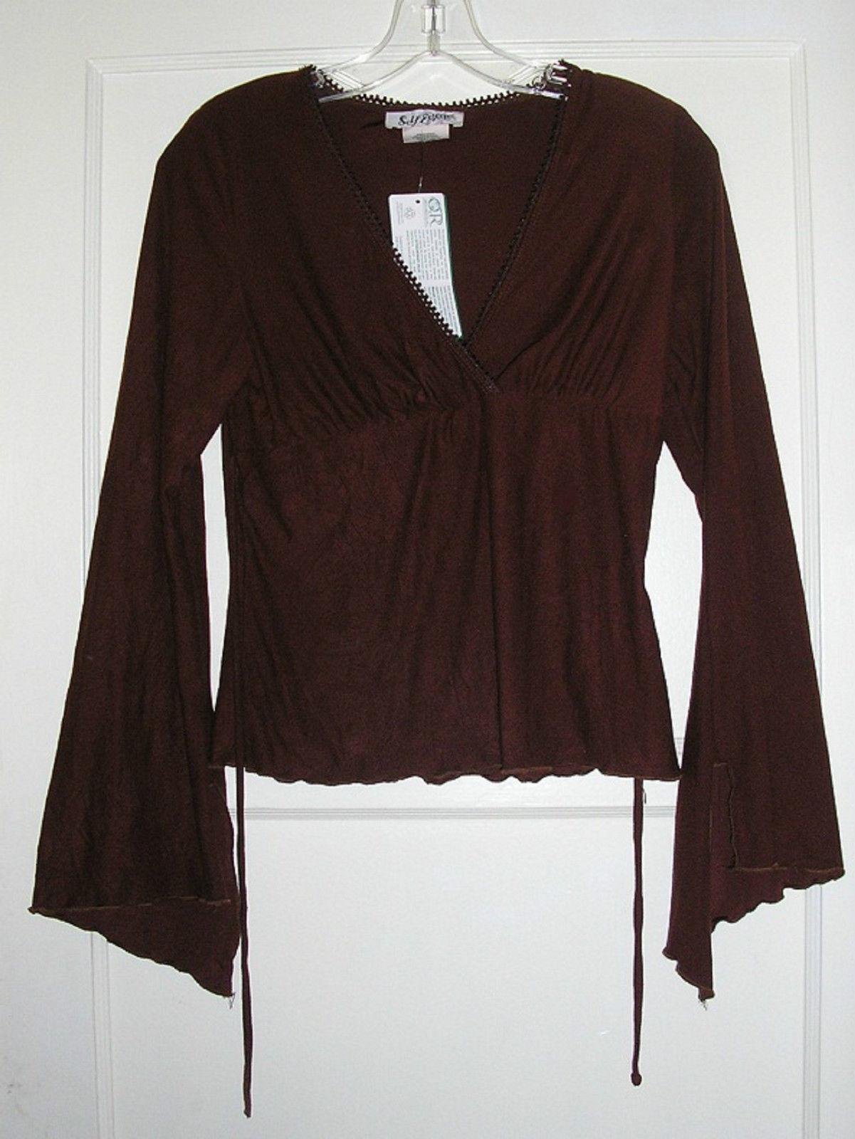 boho brown retro sexy hipster angel bell sleeve hippie shirt size small medium 6