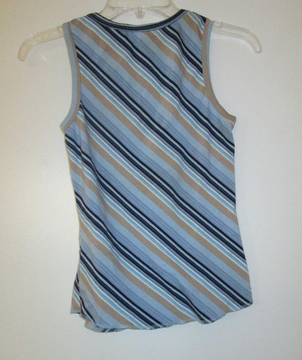 vintage 1990s retro blue stripe sleeveless tank shirt size extra small xs 0 2 4