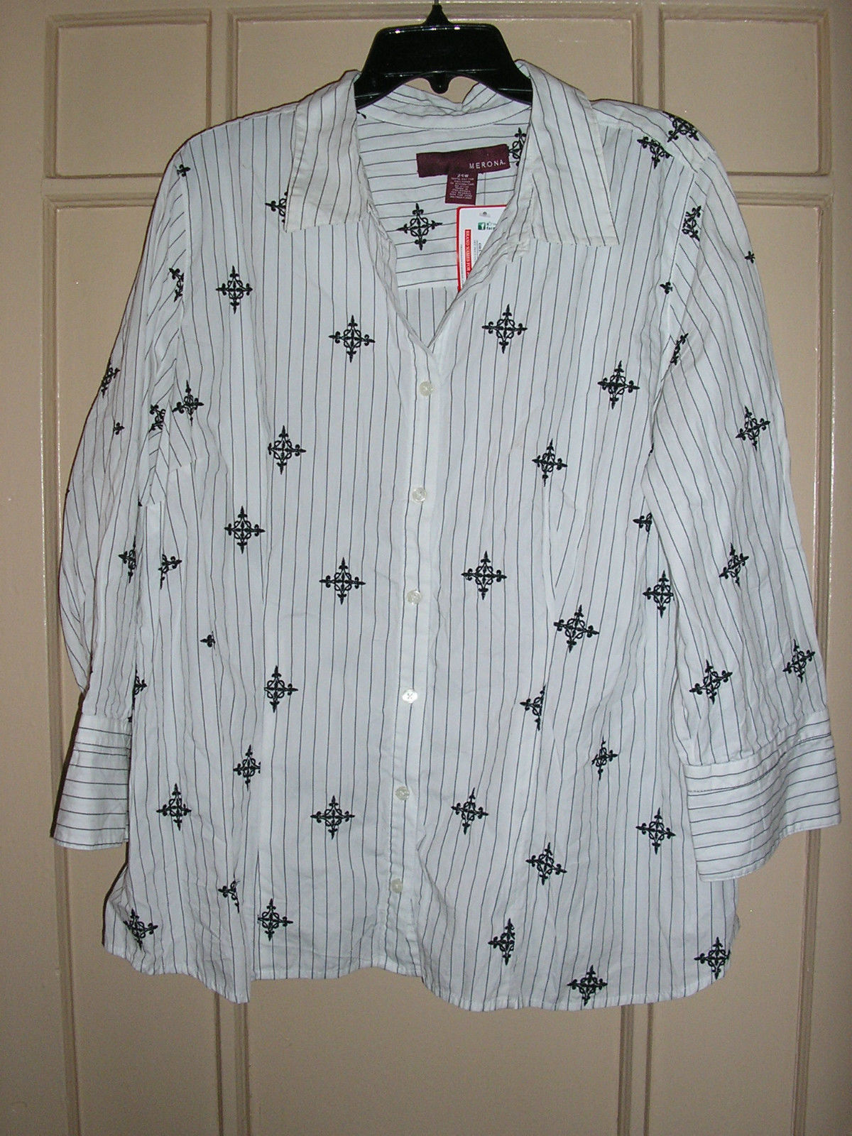 plus size black white pinstripes embroidered button down cotton shirt 24 24w