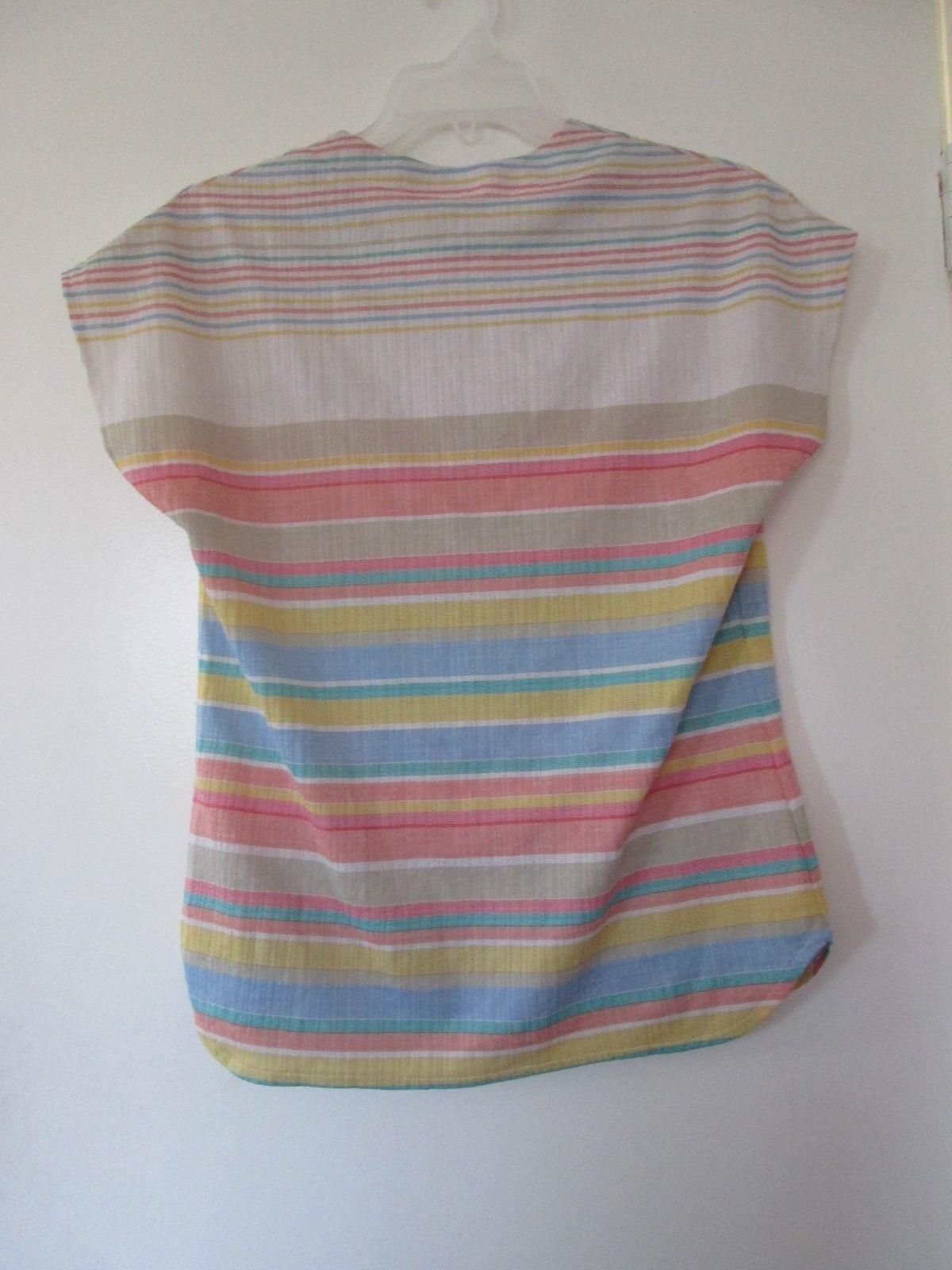 1980s vintage cute white pink rainbow striped stretch shirt size medium large