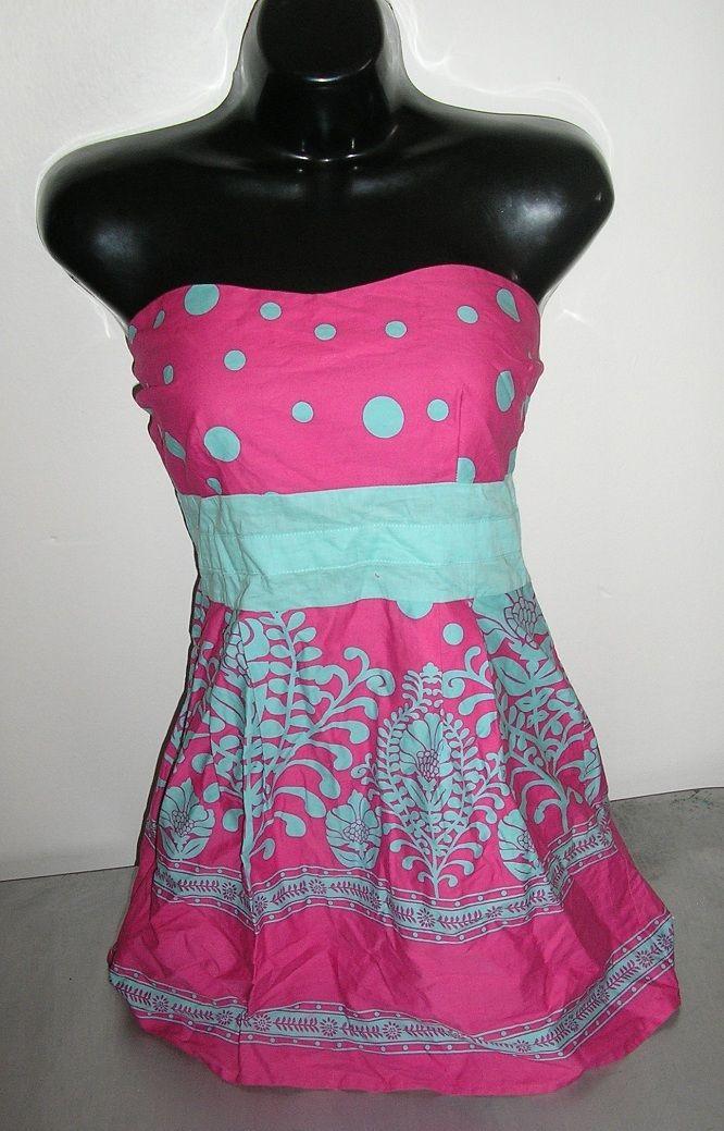 NWOT retro pink aqua polka dot tank strapless shirt top size extra small xs