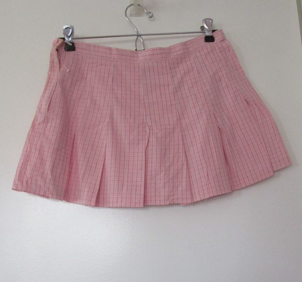 pink white plaid tennis cheerleader pleated short mini skirt size extra small xs