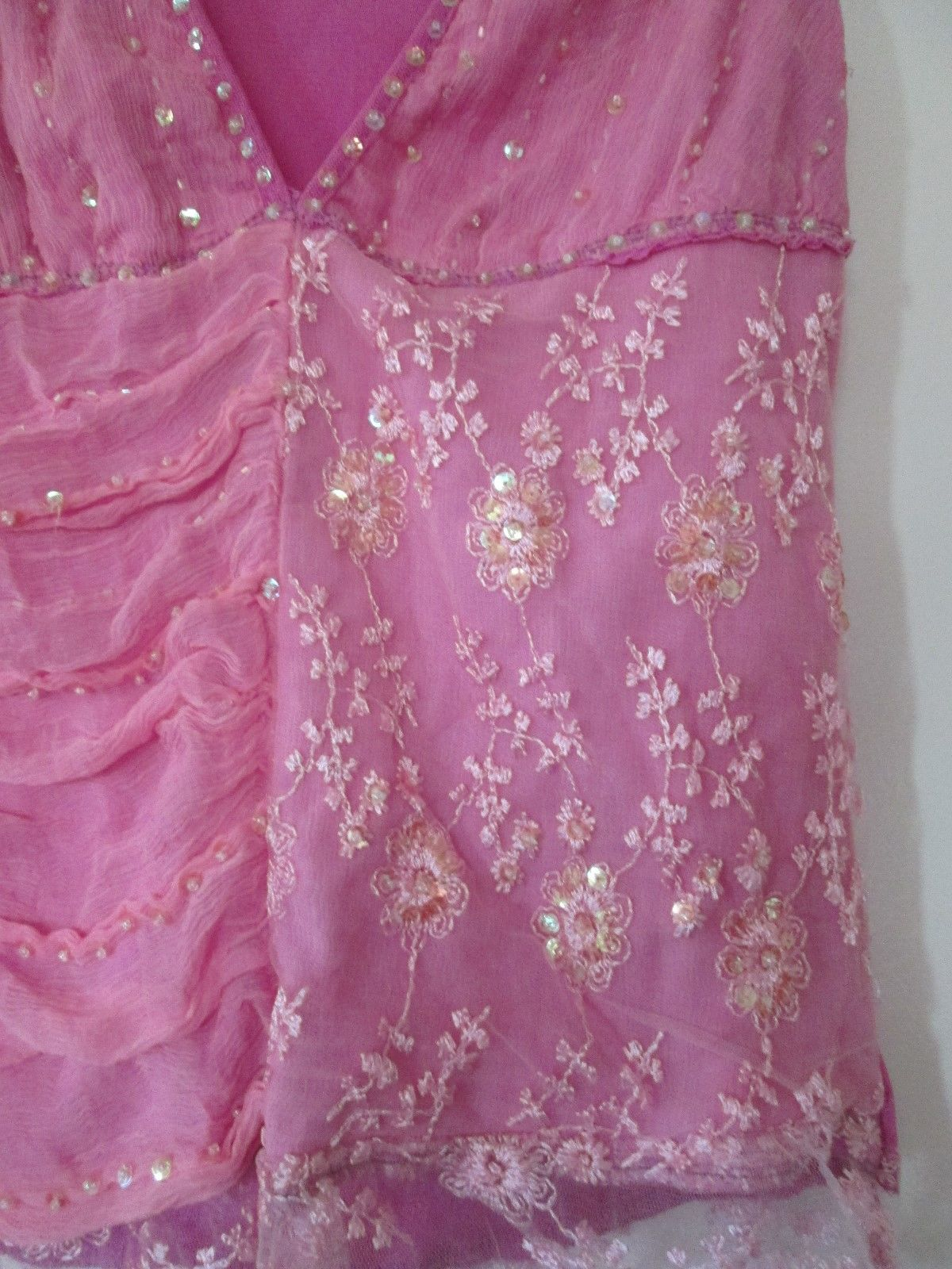 sexy pink beaded beads sequin lace sleeveless tank shirt size xs xxs extra small