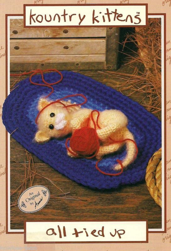 Kountry Kittens cat crochet pattern: ALL TIED UP AA2763