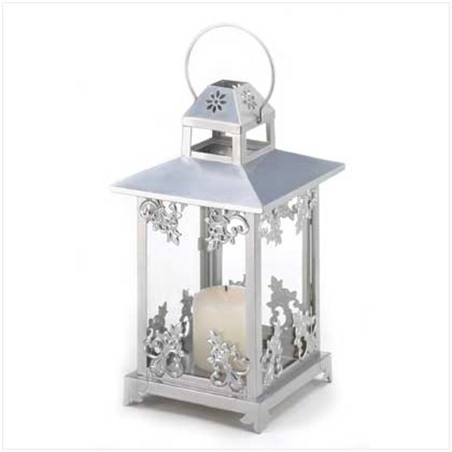 6 Silver Lantern Large Candle Holder Table Decor Centerpieces