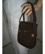 Vintage GRETA Brown Suede Purse Handbag - $26.00