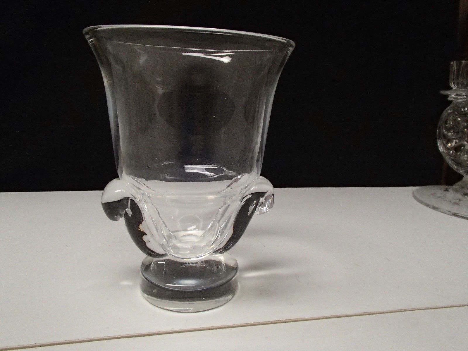 Steuben Signed Vase in Clear Glass with Scrolled Handles 1949 Design~~as is~~