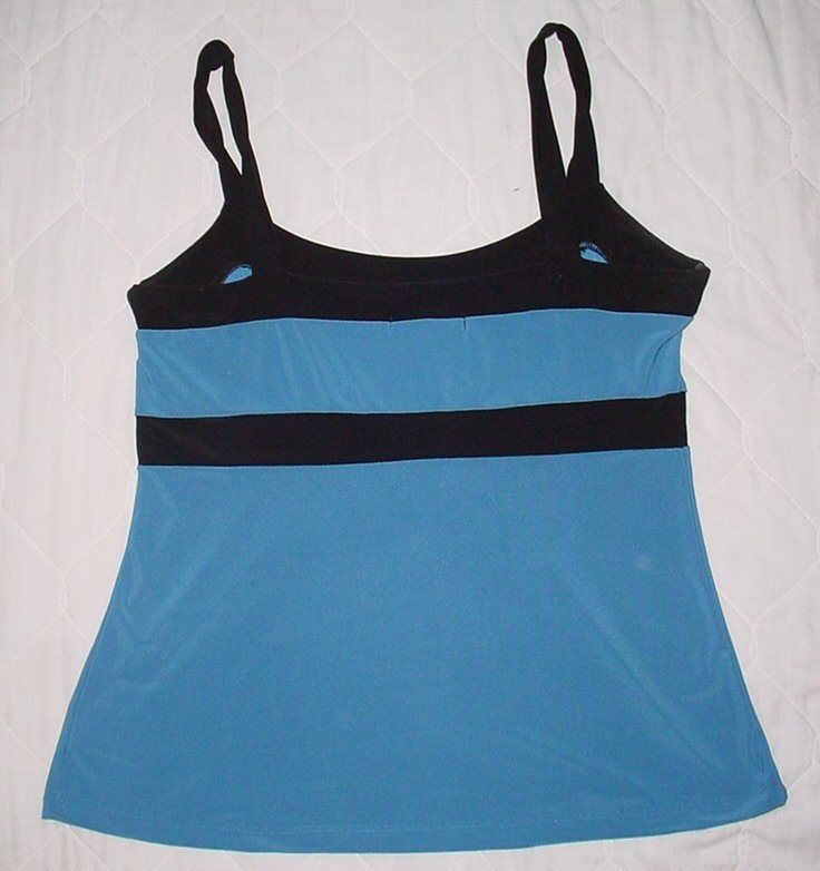 SUZIE COUTURE  blue/black  Stretch Sleeveless SLINKY Tank Top SZ. M    EUC