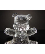 Lead Crystal Teddy Bear with Scarf Arms Outstretched - $4.90