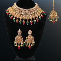 ONE GRAM GOLD PLATED CLEAR KUNDAN CHOKER NECKLACE BRIDAL LADIES FASHION ... - $39.59