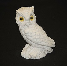 White Horned Owl w Yellow Eyes Marble Dust Art Figurine Shadow Box Shelf... - $29.69