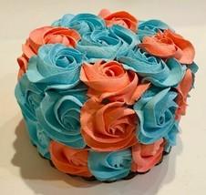 Fake Cake Aqua & Orange Rosette  Faux Cake- fake food decoration - $26.72