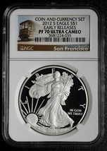2012S American Silver Eagle Ultra Cameo PF70 Coin Currency Set Lot A 566