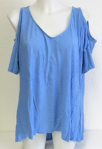 Calvin Klein Jeans Ladies' Cold Shoulder Short Sleeve Top--X-Large Blue ... - $14.84