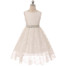 Ivory Sleeveless Full Lace Hi-Low Skirt with Rhinestones Belt Flower Girl Dress - $43.95+