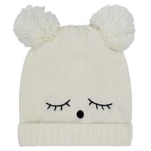 White cream teddy ears knitted bear beanie hat pom poms stocking filler ... - $11.63